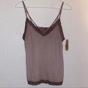 Purple tank top with lace detailing.